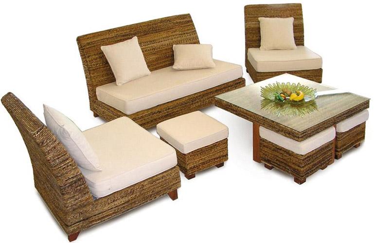 Set tavolino da giardino pouff