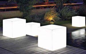 illuminazione da esterno vaso quadrato con led