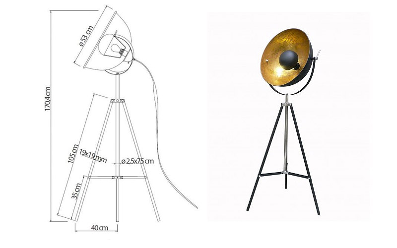 lampada piantana a forma di antenna parabolica