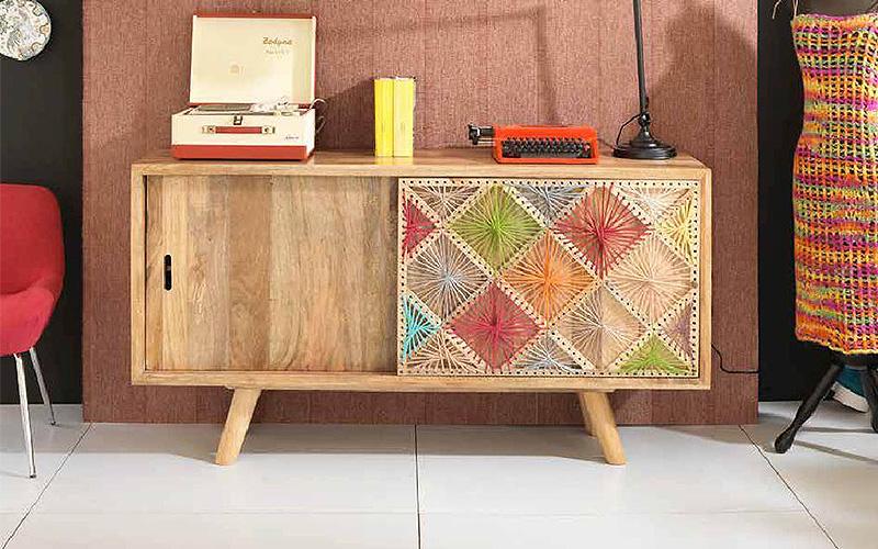 Madia in legno di mango e corde in cotone madie moderne online