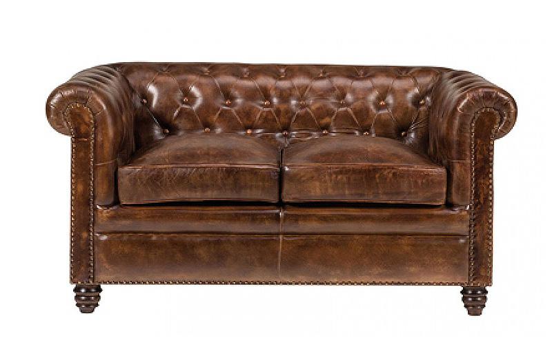 Divano Letto 2 Posti Pelle.Sofa In Pelle Naturale Invecchiata Chester Outlet Del Mobile